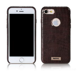 REMAX Maso Series Crocodile Leather Coated Hard Case for iPhone 8/7 - Brown