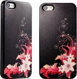 Star5 Graceful Luxury Flowers Black for iPhone 5/5s (with Swarovski)