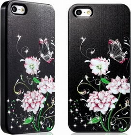 Star5 Graceful Luxury Butterfly&Flower Black for iPhone 5/5s (with Swarovski)
