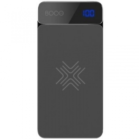 Rock P38 Wireless Charging Power Bank with Digital Display 8000mAh RMP0377 grey
